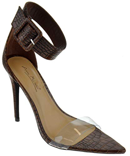 Anne Michelle Exception 26 Womens Single Band Open Toe Platform Heeled Dress Sandals Brown Crocodile 7