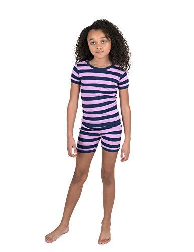 (Leveret Shorts Pajamas Girls 2 Piece Pajamas Set 100% Cotton (Purple/Navy,Size 10 Years))