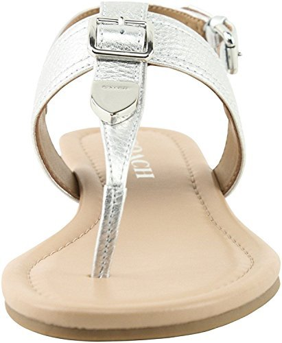 Coach Women¡¯s Cassidy Metallic Tumbled Sandals, Style, Silver, Size 6.0