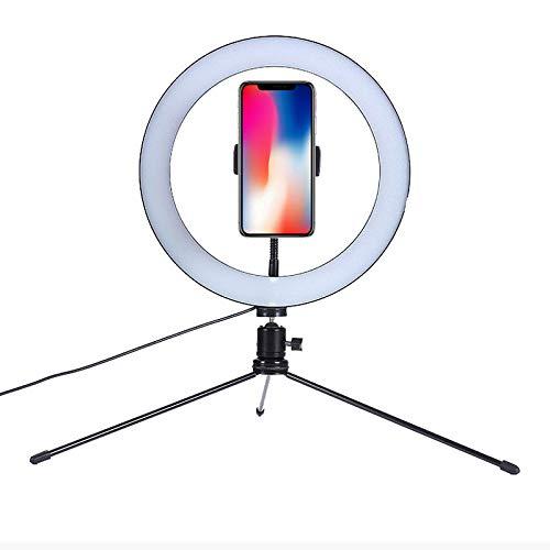 QYRL Anillo de luz LED, luz de Relleno de fotografia USB con tripode de Escritorio y Soporte para telefono movil, para transmision en Vivo/Maquillaje/Video de Youtube, 3 Modos de iluminacion