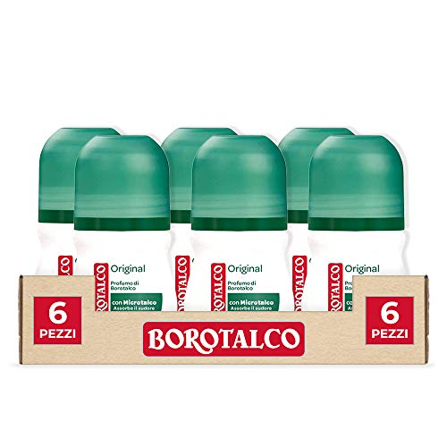 BOROTALCO DESODORANTE ROLL ON ORIGINAL CON MICROTALCO ABSORBE EL SUDOR SIN ALCOHOL 6 BOTES DE 50 ML