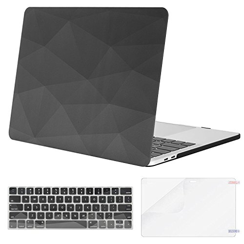 MOSISO MacBook Pro 13 inch Case 2019 2018 2017 2016 Release A2159 A1989 A1706 A1708, Plastic Pattern Hard Shell & Keyboard Cover & Screen Protector Compatible with MacBook Pro 13, Gray Geometric