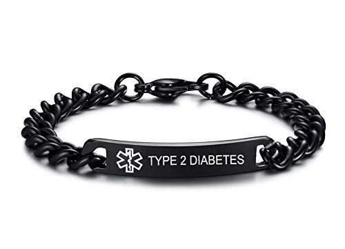 Type 2 Diabetes Medical Alert Bracelets- 8mm High Polished Surgical Steel Chain Medical Alert ID Bracelets for Women and ()