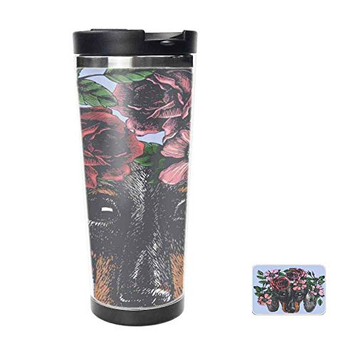 Hippie Dachshund in The Roses Wreath Travel Mug for Coffee & Tea,Drinking Cup, Coffee Mug,Thermos Cup 16oz