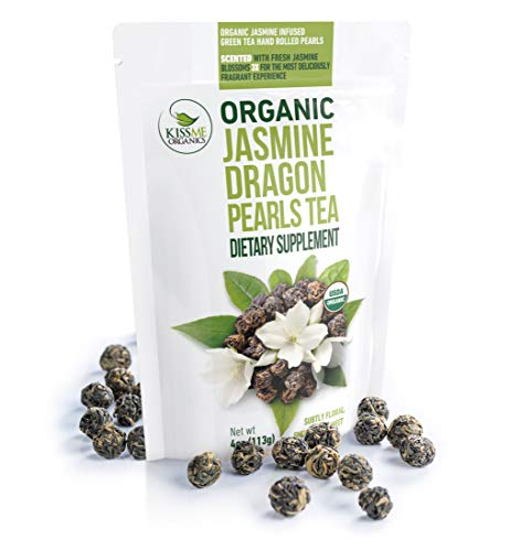 Jasmine Dragon Pearls Green Tea - Premium Flavor Organic Tea Jasmine Pearls Loose Leaf Tea Hand Rolled - 4 ounces / 113 grams