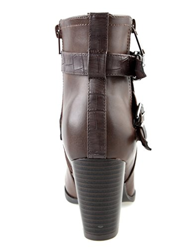 Eyekepper Women 's Fashion strappy hebilla cremallera lateral hasta grueso tacon Botines hasta el tobillo Dark Brown