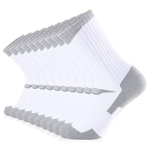 JOURNOW Women's Cotton Moisture Wicking Extra Heavy Cushion Crew Socks 10 Pair (9-11, White+Heather Gray)