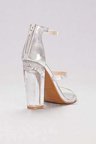 Davids Bridal Metallic Triple-Strap Sandals With Clear Accents Style HYPHEN07S Silver JIsNqq
