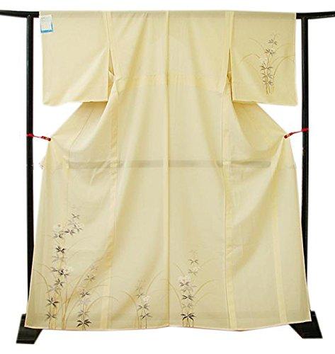 行政法律リング博多着物市場 きものしらゆり 美品 夏物 絽 クリーム色 高級 付下げ 訪問着 正絹 仕立て上り 身長150cm~156cmの方に最適