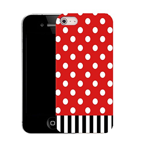 Mobile Case Mate IPhone 4 clip on Silicone Coque couverture case cover Pare-chocs + STYLET - red polka stripe pattern (SILICON)