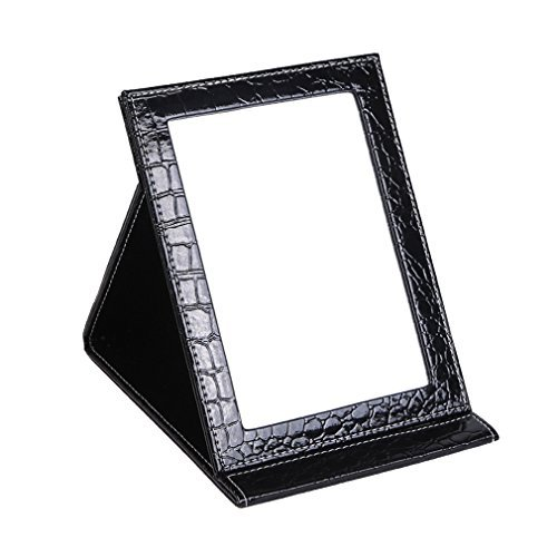 APAS Deluxe PU Leather Desktop Large Makeup Cosmetics Personal Beauty Folding Mirrors Black
