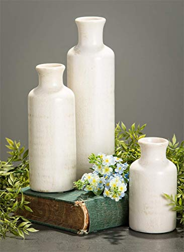 Sullivans Small White Vase Set (Ceramic), Rustic Home Decor, Distressed White, Set of 3 Vases (CM2333). 4