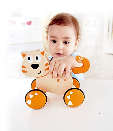 412bE8zbBXL - HapeDante Push and Go| Wooden Push, Release & Go Cat Toddler Toy with Wheels