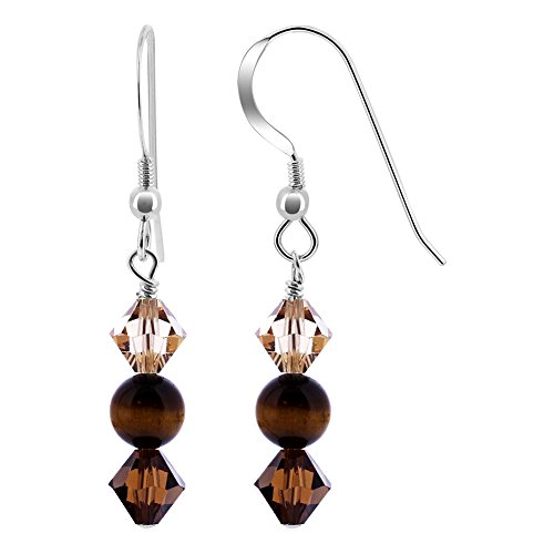 Gem Avenue 925 Sterling Silver Tiger Eye Gemstone and Made with Swarovski Elements Topaz Color Bicone Crystal Drop (Tigers Bicone Crystal Earrings)