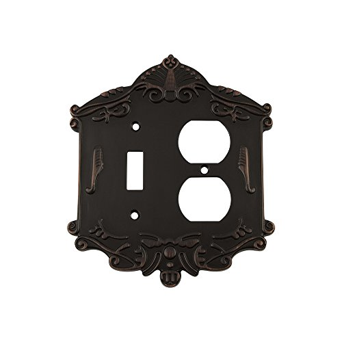 Nostalgic Warehouse 719659 Victorian Switch Plate with Toggle and Outlet, Timeless Bronze by Nostalgic Warehouse
