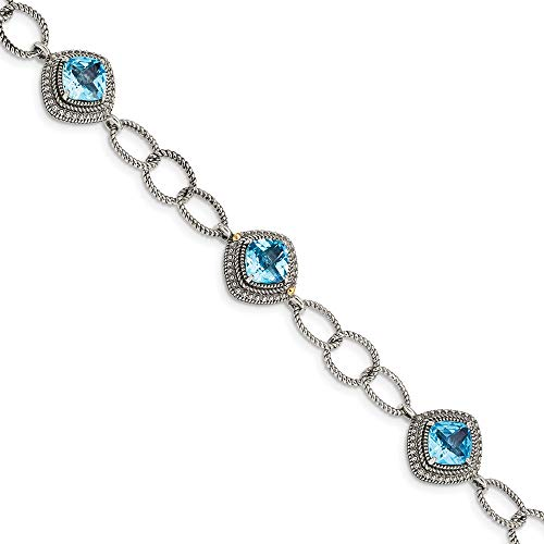 Sterling Silver with 14K Gold Two Tone Accent Light Swiss Blue Topaz 7.5In Bracelet