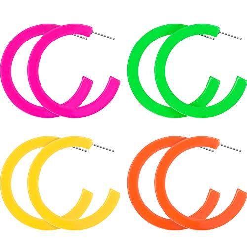 (4 Pairs Women 80s Earrings Retro Earrings Dangle Earrings Neon Earrings for 80s Party Costume Accessory (Color Set 3))