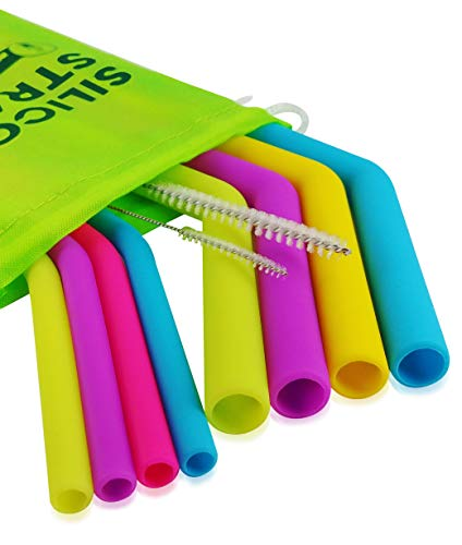 Evalasting Silicone Drinking Straws Reusable Set: 4 Regular Slim + 4 Wide 10.5 Long with Cleaning Brushes-FDA Grade Silicone, No Rubber Taste, BPA Free, Fits 30oz Tumbler/Yeti, Soft & Bendable