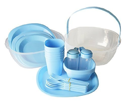 GMMH Picnic Set for 6 People 48 Pieces Blue Paradiseeinkauf