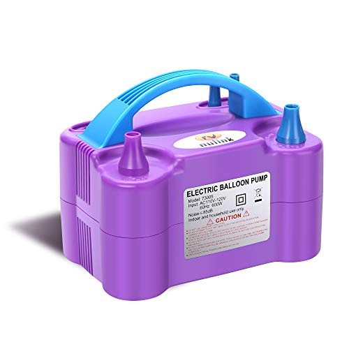 NuLink Electric Portable Dual Nozzle Balloon Blower Pump Inflation for Decoration, Party, Sport [110V~120V, 600W, Purple]]()