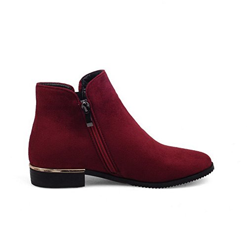 AllhqFashion Womens Round Closed Toe Low-top Low-Heels Solid Imitated Suede Boots Claret m17CXq9l