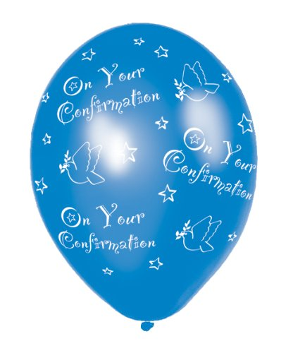 Pack of 6 Confirmation Blue Printed Latex Balloons -