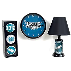 Philadelphia Eagles home decor 3 pieces set. String flashing light let's go, wall Clock and #1 fan table lamp.