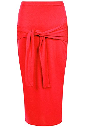 Oops Outlet Women's Front Waist Bow Tie Knot Pencil Bodycon Jersey Midi Skirt