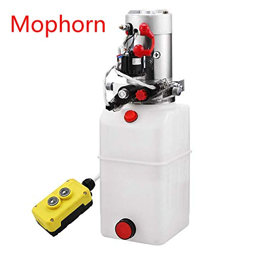 (Mophorn 6 Quart 12V Hydraulic Pump Dump Trailer Power Unit (Plastic, 6 Quart/Double Acting))