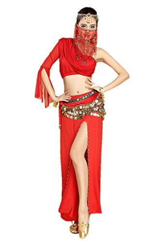 Honeystore 2017 Neuheiten Damen One Shoulder Belly Dance Latein Dance 8PC Kleid mit Pailletten Rot