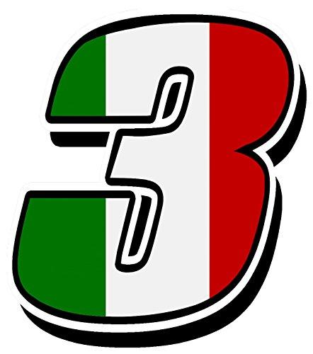 German Quality - Orafol PVC, hot Laminate Start Racing Number nascar Motocross Motorbike Italy Italia Flag Sticker Decal IT 3, N 313