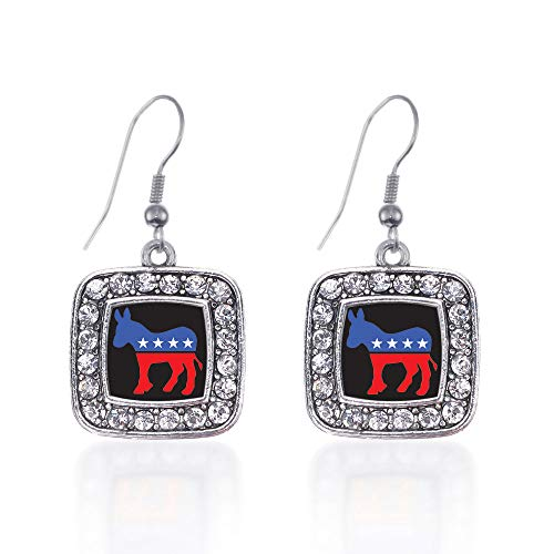 Inspired Silver - Democrat Charm Earrings for Women - Silver Square Charm French Hook Drop Earrings with Cubic Zirconia Jewelry