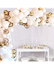 JOYYPOP 110 Pcs White And Gold Balloons Arch White Balloons Gold Confetti Balloons Metallic Balloons Decorations Set, For Wedding Decoration Baby Shower Decorations For Girl Boy