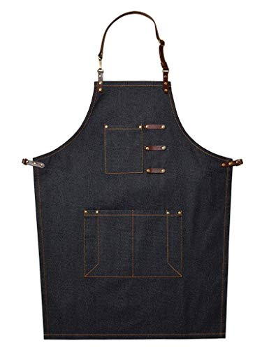 Restaurant Apron Server Apron Real Leather Apron Chefs Apron Arbeitsch/ürze Adjustable Beriemung Black Moisture Repellent
