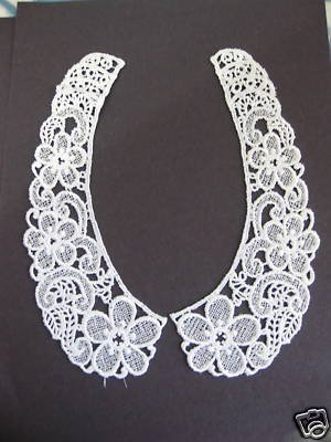 1 Pair Nice Magnificent Venice Lace Floral Collar, Color Is Ivory and in White ,Beautifully Detailed Design from REYSOM