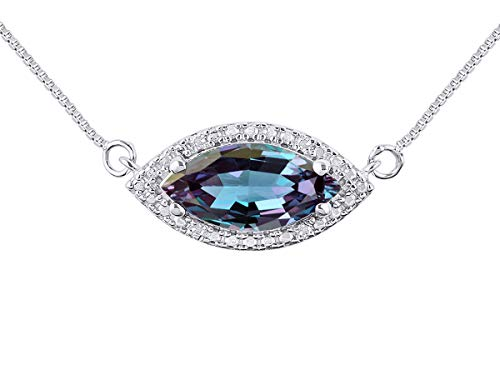 - RYLOS Simply Elegant Beautiful simulated Alexandrite/Mystic Topaz & Diamond Pendant/Necklace - June Birthstone