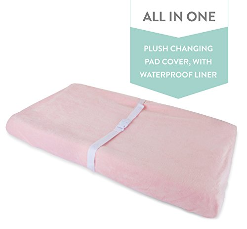 Pink Changing Table - Waterproof Plush Change Pad Cover 100% Cotton Pink Velvet | no Need for Changing Pad Liner