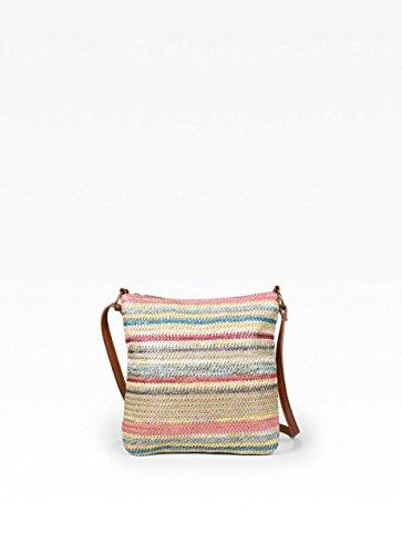 BOSANOVA Mini bandolera en rafia multicolor. Cuero