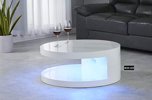 Living Room Artiva USA LA VILLINO Modern Euro Coffee Table with Romote Multi-Colors LED Light, 31.5X31.5X13 H, Glossy White modern coffee tables