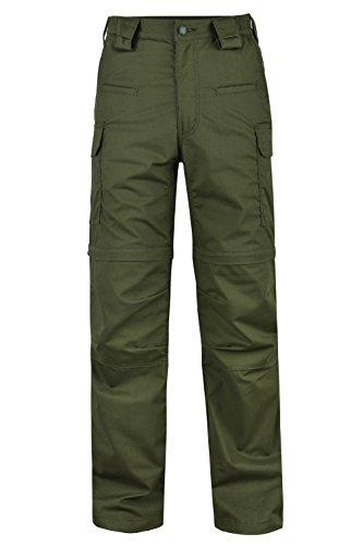HARD LAND Men's Convertible Hiking Pants Waterproof Lightweight Zip-Off Outdoor Ripstop Cargo Shorts Elastic Waist (32W×32L, Olive Green) ()