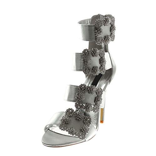Angkorly Damen Schuhe Pumpe Sandalen - Knöchelriemen - Stiletto - String Tanga - Schleife - Strass Stiletto High Heel 11 cm Silber