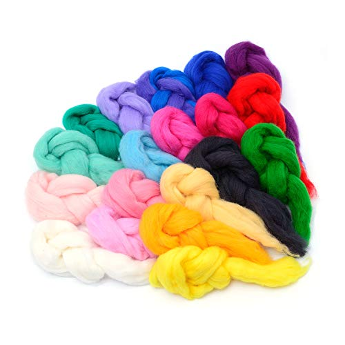 - Glaciart One Spinning Fiber Merino Wool - Super Soft 20 Colors (10g per Color) Unspun Roving Wool for Felting & Felting Yarn Craft Supplies