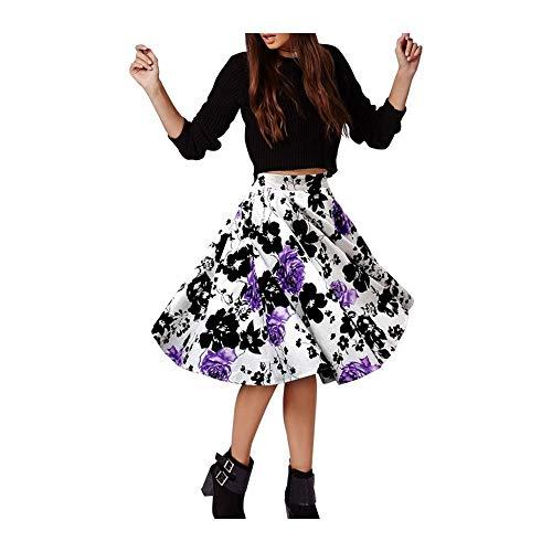 Black taille haute Pour FlowerKui plisse de les mode vtements vase pour femme Jupe TEgww7qna