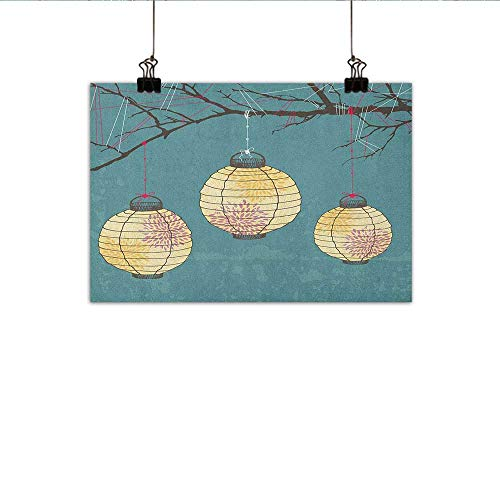 MartinDecor Lantern Simulation Oil Painting Three Paper Lanterns Hanging on Branches Lighting Fixture Source Lamp Boho Decorative Painted Sofa Background Wall 47