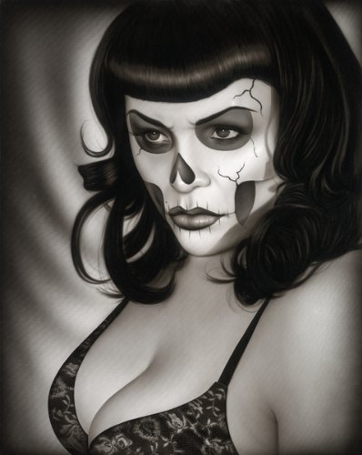 1f98bf27b Amazon.com: Black Market Art Dead Gina by Spider Tattoo Mexican Pin Up Girl  Death Mask Canvas Art Print: Posters & Prints