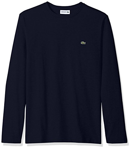 - Lacoste Men's Long Sleeve Jersey Pima Regular Fit Crewneck T-Shirt, TH6712-51, Navy Blue, X-Large