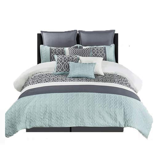 Wonder-Home 10 Piece Quilted Comforter Set with Matelassé & Embroidery, Embellished Luxury Oversized Bedding Set, Color Block Pattern, Queen, 92