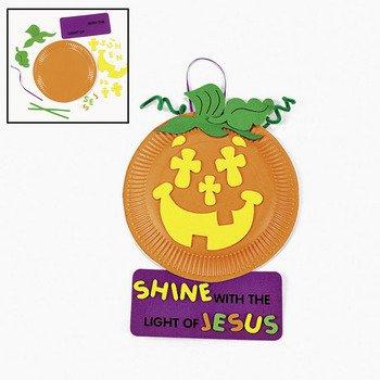 Paper Plate & Foam Christian Pumpkin Craft Kit - Sunday School & Crafts for Kids (Christian Halloween Sunday School Crafts)
