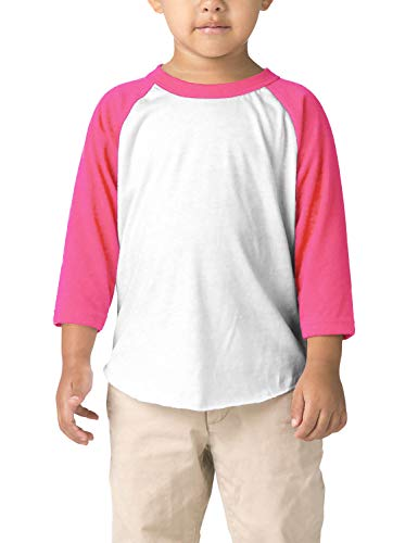 (Hat and Beyond Infant Raglan 3/4 Sleeves Baseball Tee (12M, (Baby) 5bh03_White/Pink))