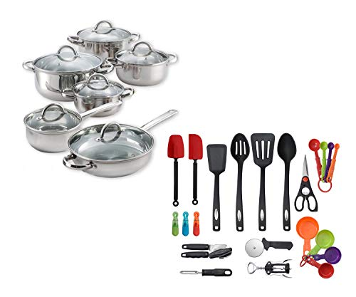 Cook N Home 12-Piece Stainless Steel Cookware Set bundle with Farberware 22-Piece Essential Kitchen Tool and Gadget Set